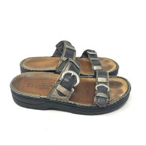 Naot slide buckle leather sandals